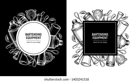 Bartending label set. Poster or template for menu. Handdrawn sketch. Area for text