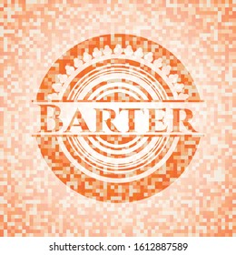 Barter abstract emblem, orange mosaic background