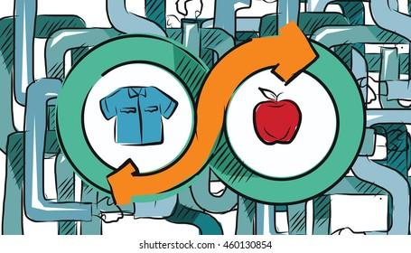barter commerce trade transaction economic concept exchange swap goods