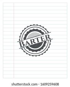 Barter emblem with pencil effect. Vector Illustration. Detailed.