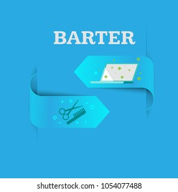 Barter. A natural exchange of food for furniture. One good turn deserves another. Computer repair for a haircut. Vector flat.