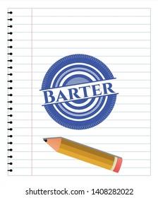 Barter pen emblem. Blue ink. Vector Illustration. Detailed.
