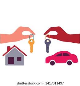Barter. Property Exchange.Barter commerce trade transaction economic concept exchange swap goods drawing illustration.