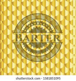 Barter shiny golden badge. Scales pattern. Vector Illustration. Detailed.