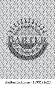 Barter shiny silver badge. Scales pattern. Vector Illustration. Detailed.