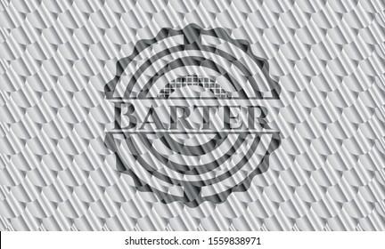 Barter silver shiny emblem. Scales pattern. Vector Illustration. Detailed.