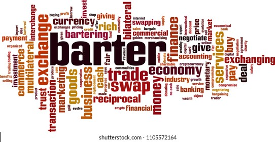 Barter word cloud concept. Vector illustration