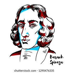 Baruch Spinoza engraved vector portrait with ink contours. Philosopher of Portuguese Sephardi origin. He came to be considered one of the great rationalists of 17th-century philosophy.