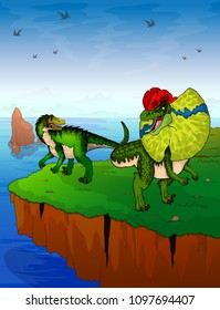 Baryonyx and dilophosaurus on the background of the sea.