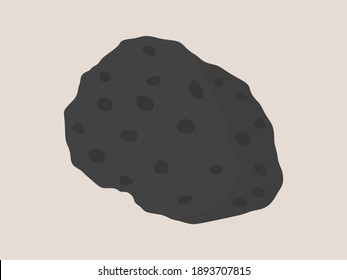 Basalt hand specimen illustration. Mafic extrusive igneous rock