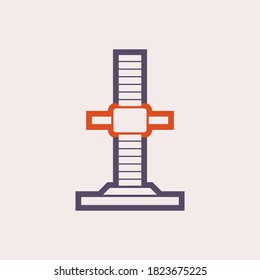 Base jack icon. Scaffolding part icon. Base jack or plate which is a load bearing base for the scaffold. Can adjust level up and down. Vector illustration design icon.