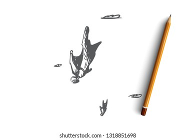 BASE jumping, extreme, wingsuit, fall, skydiving concept. Hand drawn man flying with wingsuit concept sketch. Isolated vector illustration.