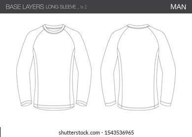 Base Layer Long Sleeved T Shirt Male Technical Vectorial Template