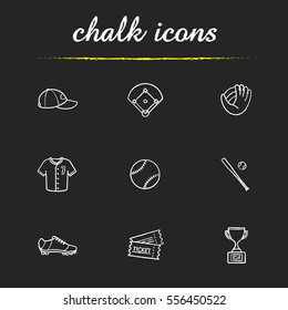 Baseball accessories chalk icons set. Cap, field, mitt, shirt, ball, bat, shoe, tickets, winner's award. Softball player's kit. Isolated vector chalkboard illustrations