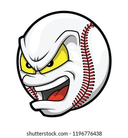 Baseball with angry face, cartoon vector illustration.