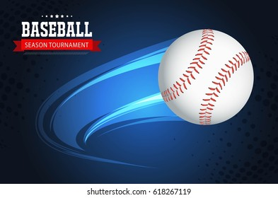 baseball with animated motion lines on a blue background vector design.