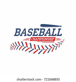 Baseball background. Baseball ball laces, stitches texture with bat. Sport club logo, poster design. Vector