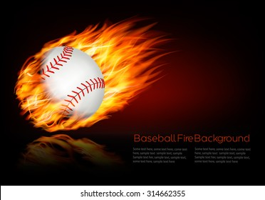Baseball background with a flaming ball. Vector.