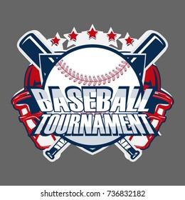 Baseball Badge Logo Design, emblem team tournament template, vector