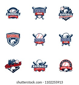 Baseball badge logo design template. Sport team identity icon, vector illustration