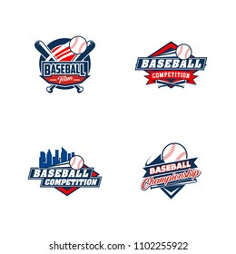 Baseball badge logo design template. Sport team identity icon, vector illustration