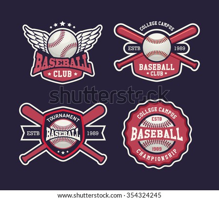 Baseball Badges Set Sports Template With Ball And Bats For
