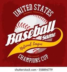 Baseball ball for bat-and-ball national american sport game emblem. United states sport logo or USA athletic league print for t-shirt, advertising of team. Pitcher ball with ribbon.