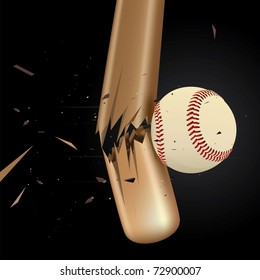 Baseball ball drawing of a broken baseball bat