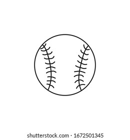 Baseball ball. Equipment for sports games. Black and white vector illustration isolated on white background. Doodle and cartoon style.