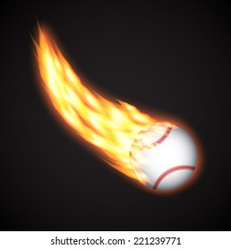 Baseball ball with fire. Sport background. EPS10 vector