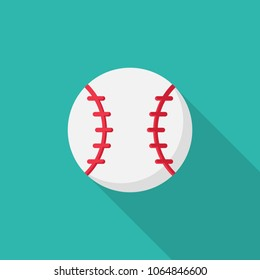 1eec81774b4ac Vectors ×. Baseball ball flat icon with long shadow isolated on blue  background. Simple baseball ball in