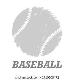 Baseball ball on white background. Simple flat style.Vector illustration.