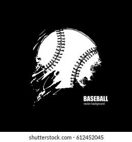 Baseball ball. Print on the T-shirt. Sport logo. Grunge background. Hand drawing. Sketch.