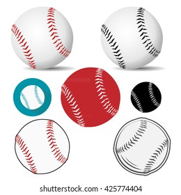 Baseball ball realistic, logo, icon in white leather with red/black stitches. Vector illustration.