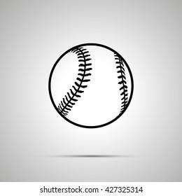 Baseball ball simple black icon with shadow