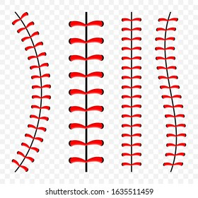 Baseball ball stitches, red lace seam isolated on background.
