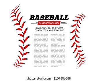 Baseball ball text frame on white background.