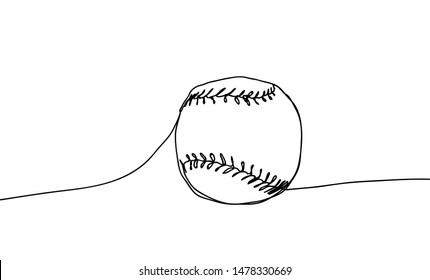 Baseball ball vector illustration on a white background. Continuous line drawing design style.