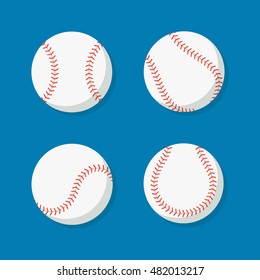 Baseball ball vector set isolated from the background. White baseballs seamed in different positions in the flat style. Sports or fitness symbol.