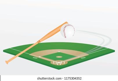 Baseball bat, ball and field. vector illustration