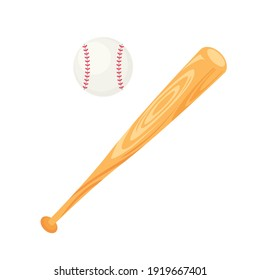 Baseball bat and ball in flat style. Vector illustration isolated on white background