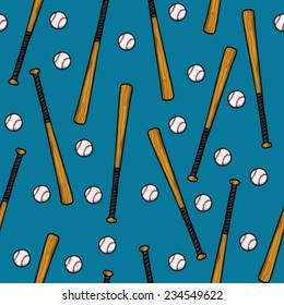 Baseball bat and ball on a blue background, seamless pattern