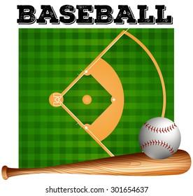 Baseball bat and ball on baseball field
