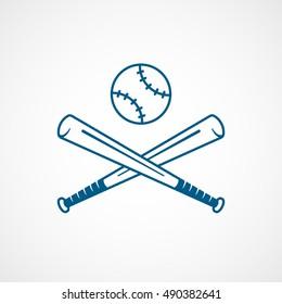 Baseball Bat Cross Blue Line Icon On White Background