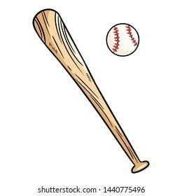 Baseball and baseball bat doodle