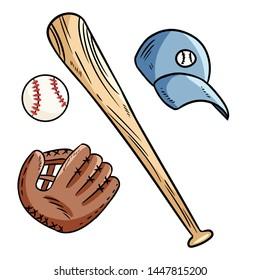 Baseball, baseball bat, hat and catchig glove doodles. Hand drawn set