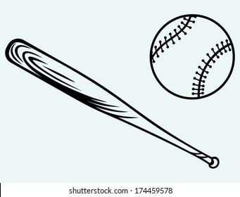 Baseball and baseball bat. Image isolated on blue background