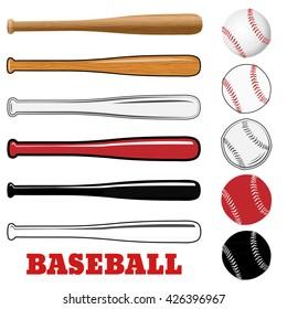 ff62fe02fa4 Baseball and baseball bat isolated on white background. Vector illustration.