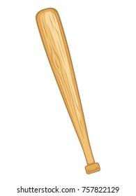 Baseball bat on white background, vector illustration.