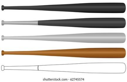 Baseball bat set isolated on a white background. Vector illustration.